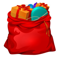 Red Open Santa Bag With Gifts....