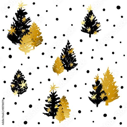 Stoffe zum Nähen Nahtlose Muster mit schwarz-goldenen Weihnachtsbäume