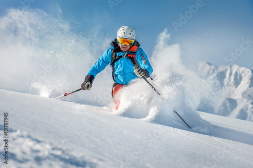 fototapeta na szkło Male freeride skier in the mountains off-piste