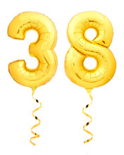 Golden Number Thirty Eight 38 Made Of Inflatable Balloon