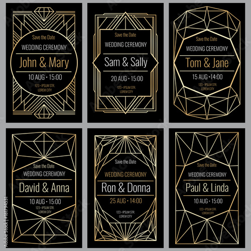 Modern abstract vector backgrounds in art deco style. Classy wedding invitations with geometric frame