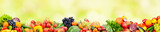 Fototapeta Fototapety do kuchni - Panoramic collection fresh fruits and vegetables on yellow background.
