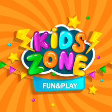 Banner For Kids Zone In Cartoo...