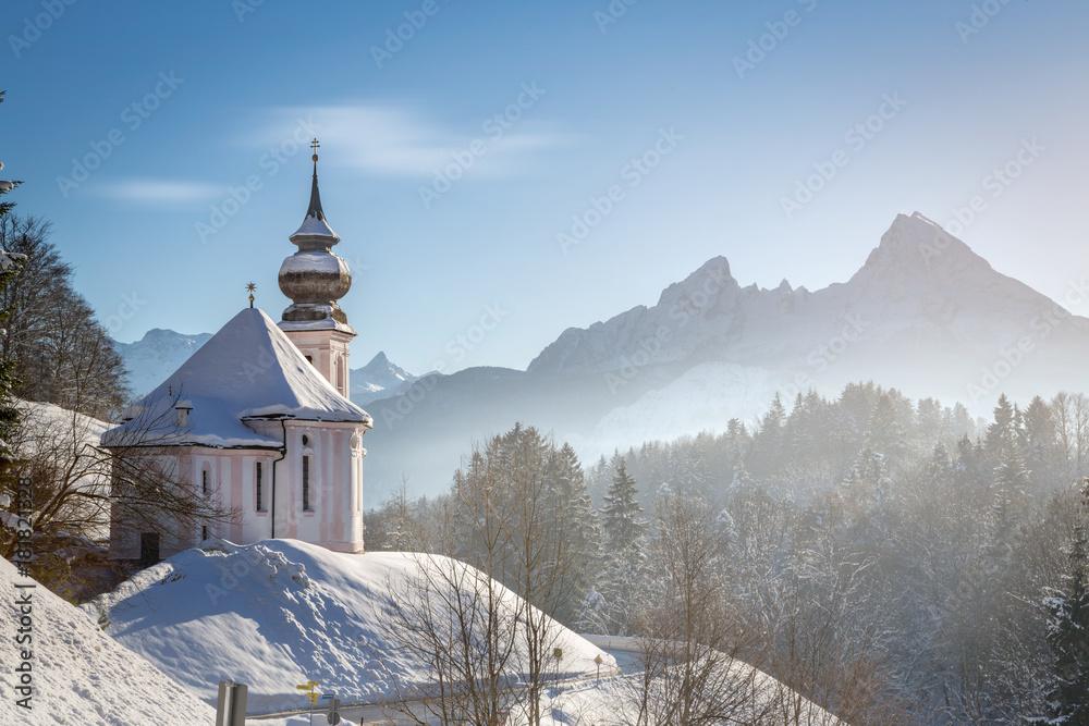 Fototapety, obrazy: Maria Gern chapel with Watzmann at Berchtesgadener Land, Bavaria, Germany
