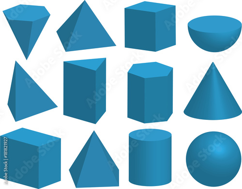 Fototapeta Basic 3d geometric shapes. Geometric solids. Pyramid, prism, polyhedron, cube, cylinder, cone, sphere, hemisphere. Isolated on a white background. obraz