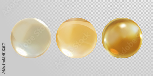 Fotografía  Gold glass ball isolated on transparent background