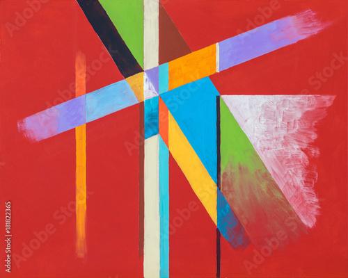 kolorowe-geometryczne-wzory-na-czerwonym-tle