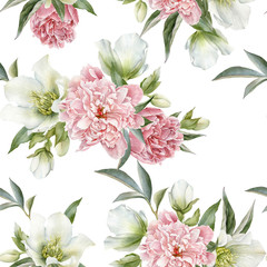 Fototapeta Peonie Floral seamless pattern with peonies and hellebore