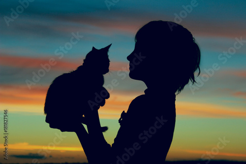Children, pets, people and childhood concept. Cropped shot of a silhouette of a girl holding her kitten at sunset. Cropped shot of a cute little girl and kitten at sunset.