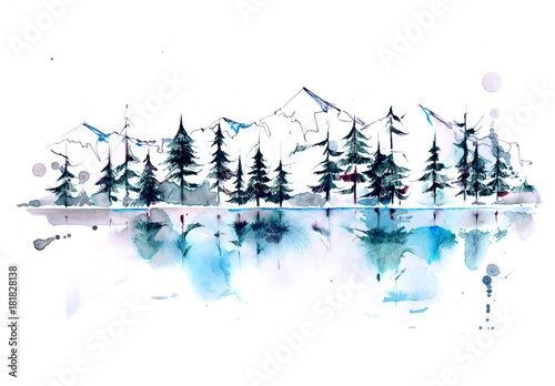 Aluminium Prints Paintings mountain forest