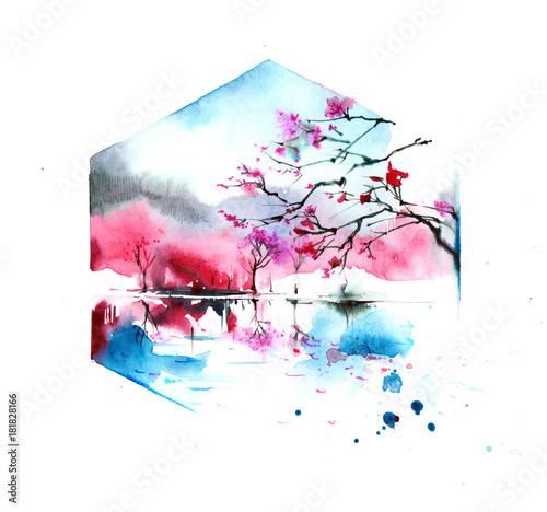 Deurstickers Schilderingen sakura