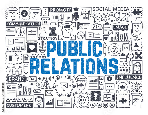 Foto  Public Relations - Hand drawn vector illustration