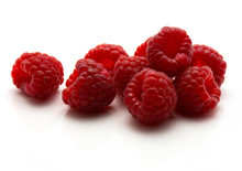 Red Raspberries Isolated On Wh...