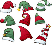 Christmas Hats Clip Art. Vecto...
