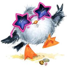 Watercolor Illustration Sea Bird. Cute Seagull