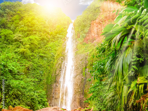 Foto auf Gartenposter Wasserfalle Carbet Falls or Les Chutes du Carbet at sunset, one of three waterfalls in tropical rainforest on Carbet River, Guadeloupe island, French Caribbean. The falls are one of the most popular visitor sites