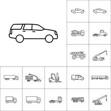 Line Suv Car Icon On White Background, Vehicle Set