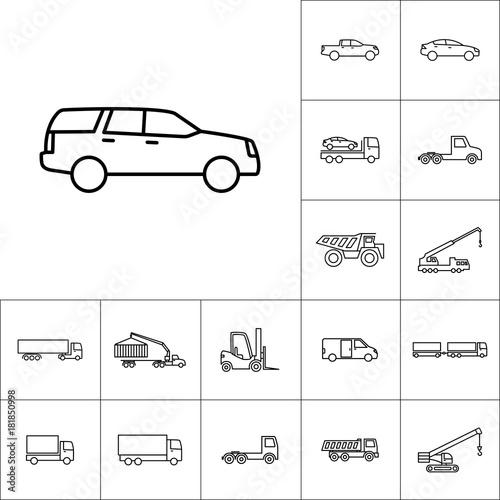 Photo  line suv car icon on white background, vehicle set