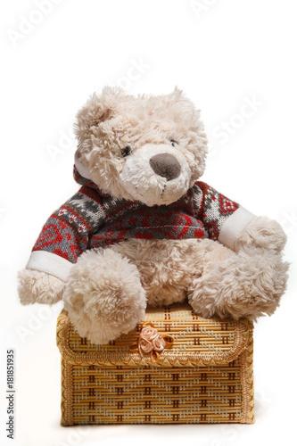 Photo  Teddy bear sitting on box on white background isolated