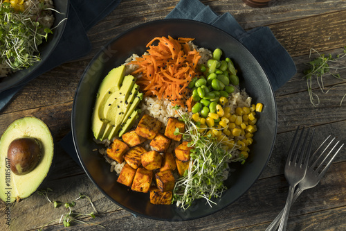 Photo  Healthy Organic Tofu and Rice Buddha Bowl