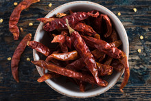Dried Red Chili Peppers In A Bowl