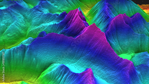Fotografie, Obraz 3D render of geology, soil slice, mountains isolated on dark background
