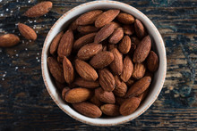 Roasted Salted Almonds In A Bowl