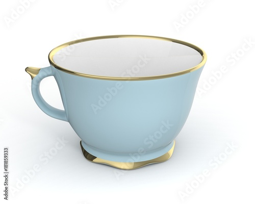 Carta da parati Isolated antique porcelain cup with gold on white background