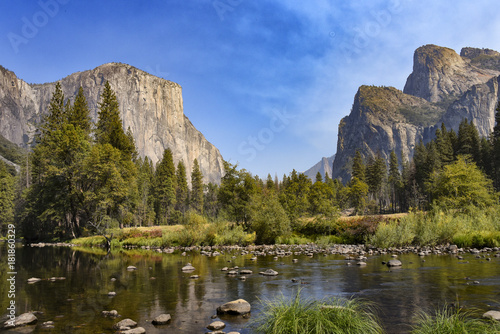 Yosemite Valley and Lake reflection Poster