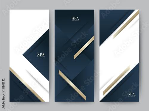 Fényképezés  Branding Packageing luxury navy dark blue with gold texture background