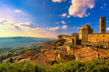 Tuscany, Volterra Town Skyline, Church And Panorama View On Sunset. Italy