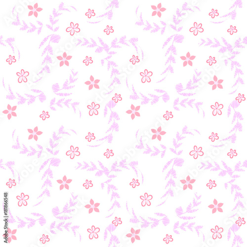 Raster Seamless Floral Pattern With Imitation Pastel Techniques