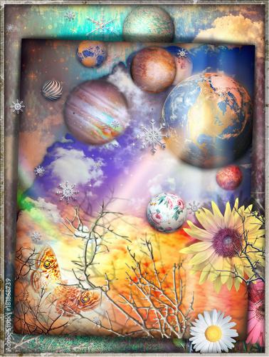 Poster Imagination Cielo fantastico con con collage di stelle,fiocchi di neve,astri,pianeti,prato fiorito,farfalla e nuvole