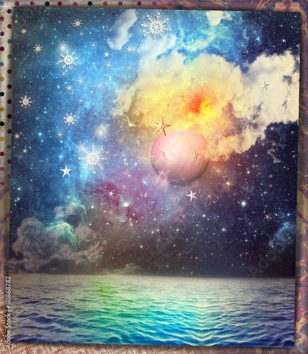 Poster Imagination Luna piena con fiocchi neve, mare,cielo notturno e stellato,scena fiabesca e fantastica