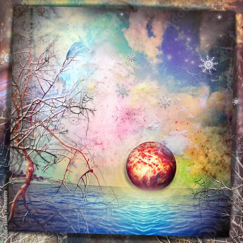 Photo sur Aluminium Imagination Marina fantastica con sole all'alba,cielo stellato e fiocchi di neve