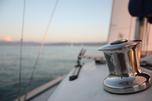 Sunset On A Sailing Yacht With...