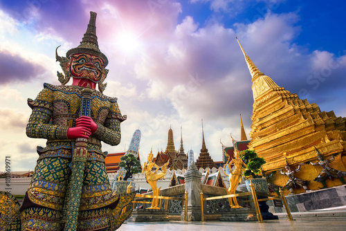 Poster Bangkok Wat Phra Kaeo, Temple of the Emerald Buddha Wat Phra Kaeo is one of Bangkok's most famous tourist sites and it was built in 1782 at Bangkok, Thailand