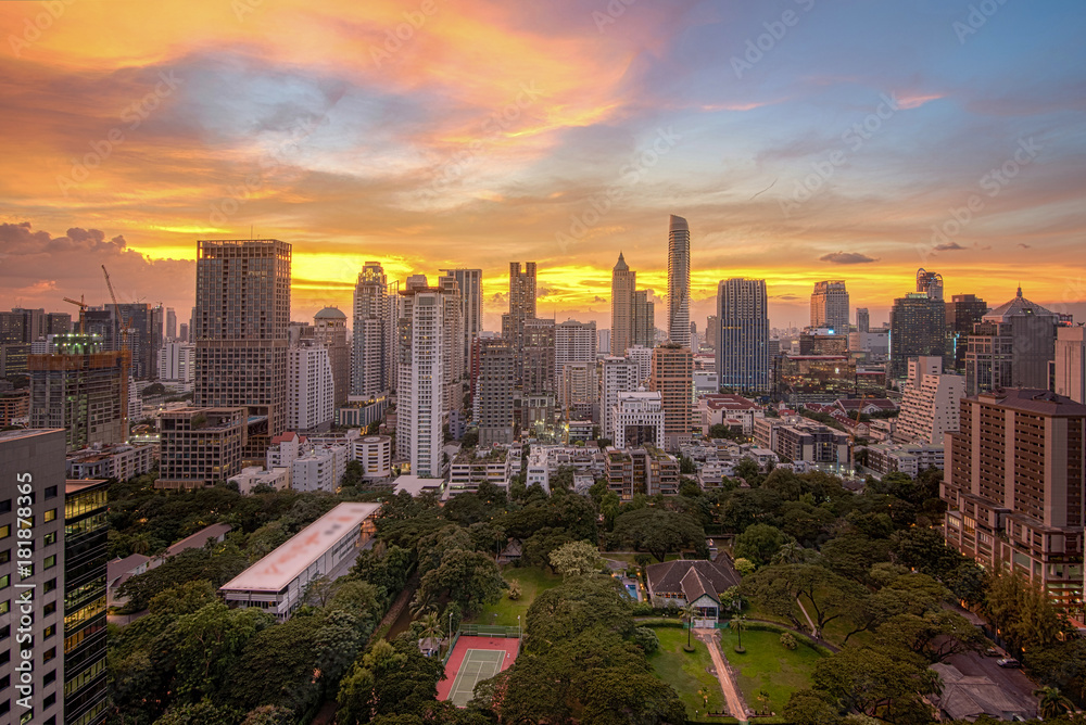 Fotografie, Obraz View Bangkok Business District / Thailand