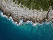 Aerial View Of Sea Waves And Fantastic Rocky Coast, Montenegro