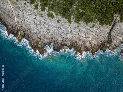 Foto op Plexiglas Luchtfoto Aerial view of sea waves and fantastic Rocky coast, Montenegro