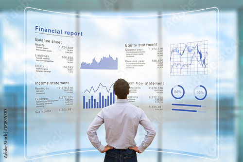 Fototapety, obrazy: Businessman analyzing financial report data company operations, balance sheet, fintech