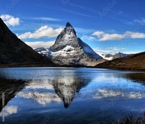Foto auf Gartenposter Reflexion Mt Matterhorn reflected in Riffelsee Lake Zermatt Canton of Valais