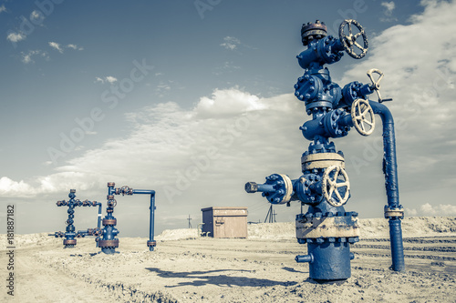 Wellhead with valve armature. Wallpaper Mural