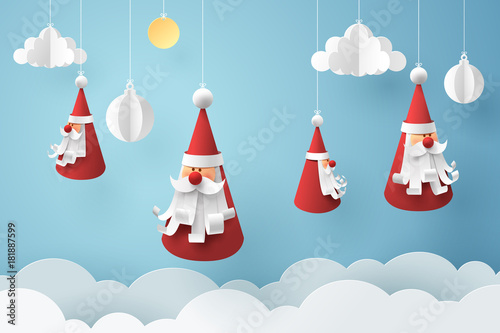 Printed kitchen splashbacks Illustrations Paper art of Santa claus hang with rope on sky, happy new year celebration concept