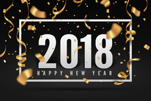 2018 Happy New Year, Gold Ribbon And Confetti Celebration