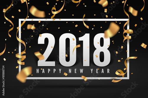 Foto  2018 Happy New Year, Gold ribbon and confetti celebration