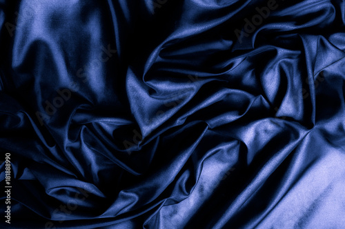 Texture, background, pattern  Dark blue silk fabric  Designer Solid