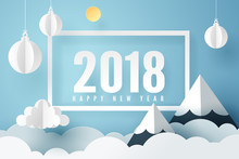 Paper Art Of 2018 Happy New Year With Sky And Mount