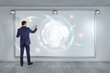 Businessman using digital planet earth interface on a board 3D rendering