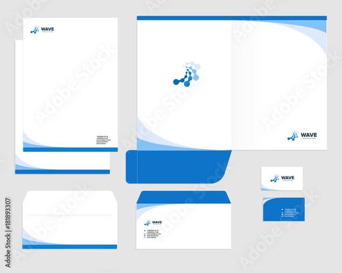 Fototapeta Corporate identity template design, visual marketing brand, business identity set. Card, letterhead, envelope, folder style company vector illustration obraz